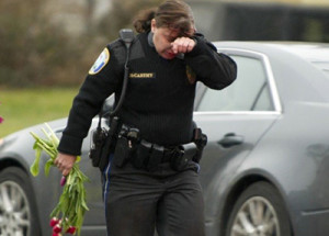 officer with flowers